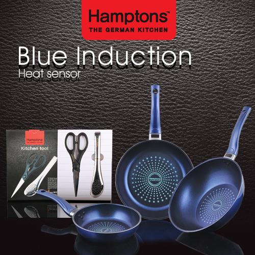 셋트특가 독일 햄튼 블루 인덕션 단조 후라이팬 5P세트 HTB-5PK / 원형팬20cm,28cm+궁중팬28cm+가위+집게