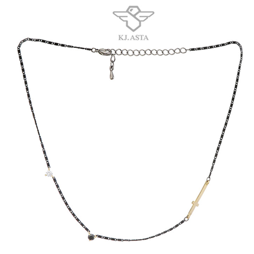 케이제이아스타 십자가 쵸커목걸이 로즈골드KJN09269